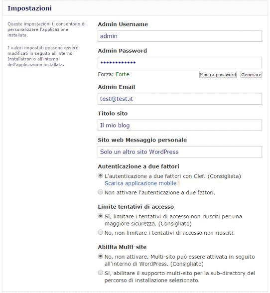 Il tuo sito con un click impostazioni installazione WordPress