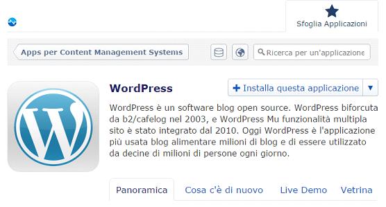il tuo sito con un click - installazione WordPress