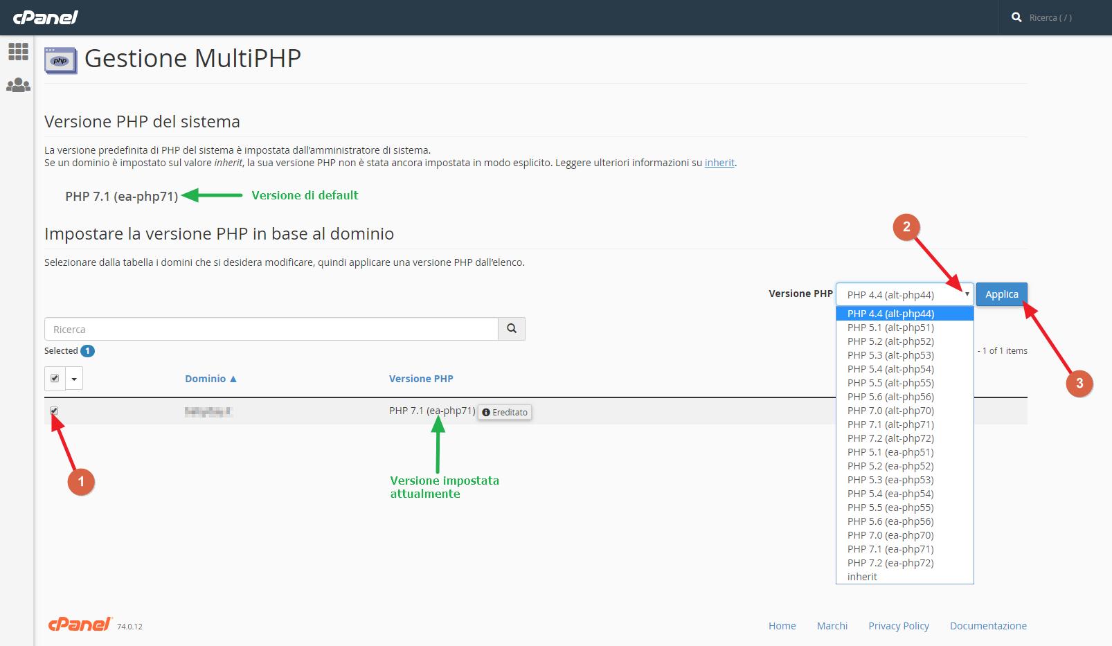 Cambio versione PHP nuovi servizi