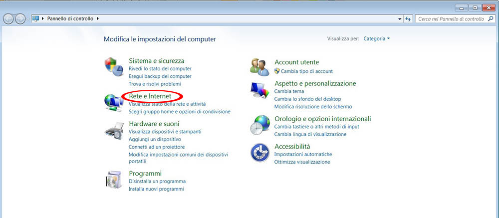 Impostazioni Rete Windows